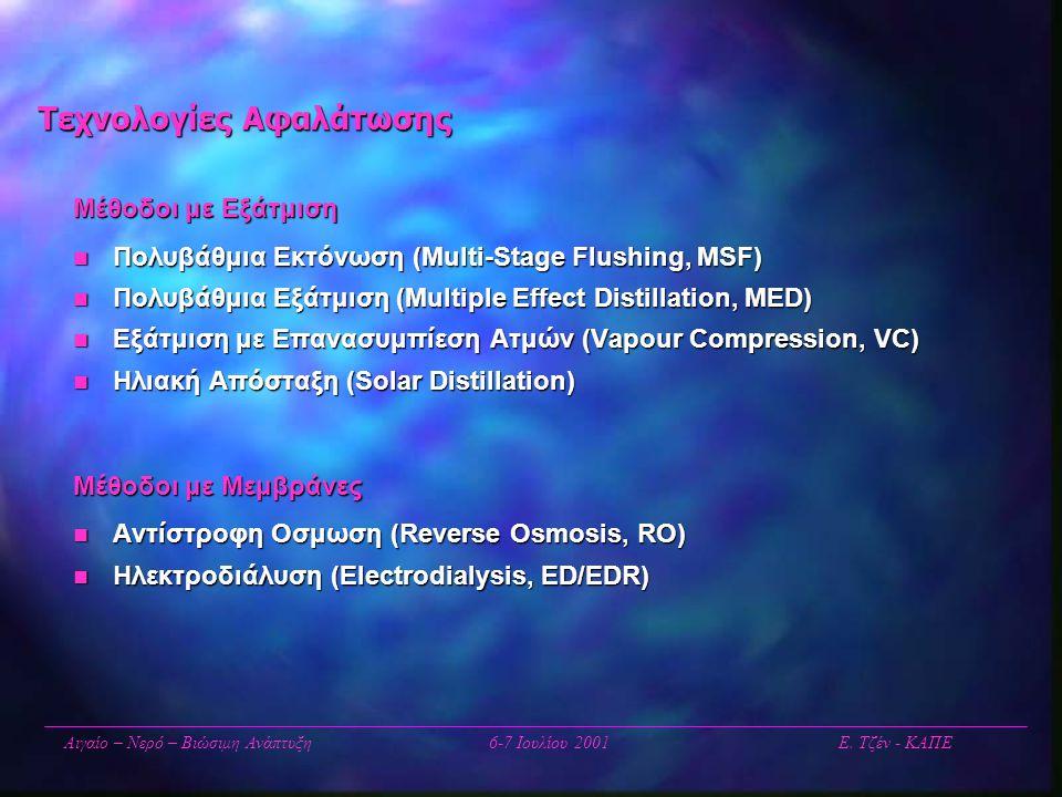 Τεχνολογίες Αφαλάτωσης Μέθοδοι με Εξάτμιση  Πολυβάθμια Εκτόνωση (Multi-Stage Flushing, MSF)  Πολυβάθμια Εξάτμιση (Multiple Effect Distillation, MED)