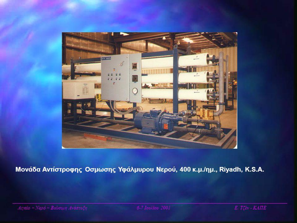 Μονάδα Αντίστροφης Οσμωσης Υφάλμυρου Νερού, 400 κ.μ./ημ., Riyadh, K.S.A. Αιγαίο – Νερό – Βιώσιμη Ανάπτυξη6-7 Ιουλίου 2001 Ε. Τζέν - ΚΑΠΕ