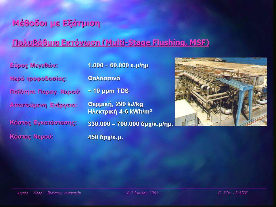 Μέθοδοι με Εξάτμιση Πολυβάθμια Εκτόνωση (Multi-Stage Flushing, MSF) Αιγαίο – Νερό – Βιώσιμη Ανάπτυξη6-7 Ιουλίου 2001 Ε. Τζέν - ΚΑΠΕ Εύρος Μεγεθών: Νερ
