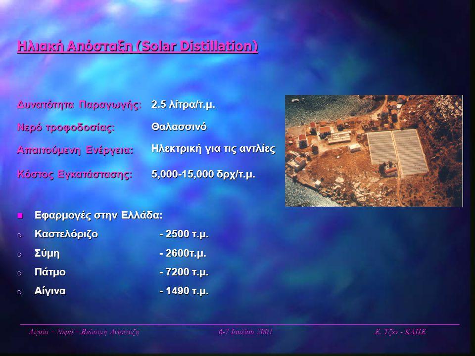 Ηλιακή Απόσταξη (Solar Distillation) Αιγαίο – Νερό – Βιώσιμη Ανάπτυξη6-7 Ιουλίου 2001 Ε. Τζέν - ΚΑΠΕ 2.5 λίτρα/τ.μ. Θαλασσινό Ηλεκτρική για τις αντλίε