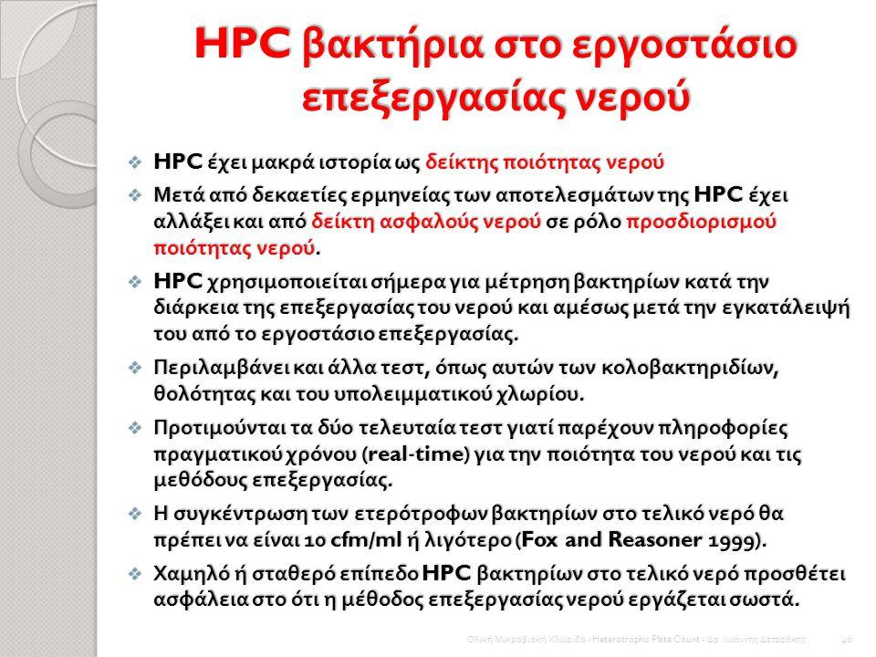 Ολική Μικροβιακή Χλωρίδα - Heterotrophic Plate Count - Δρ. Ιωάννης Δετοράκης 39