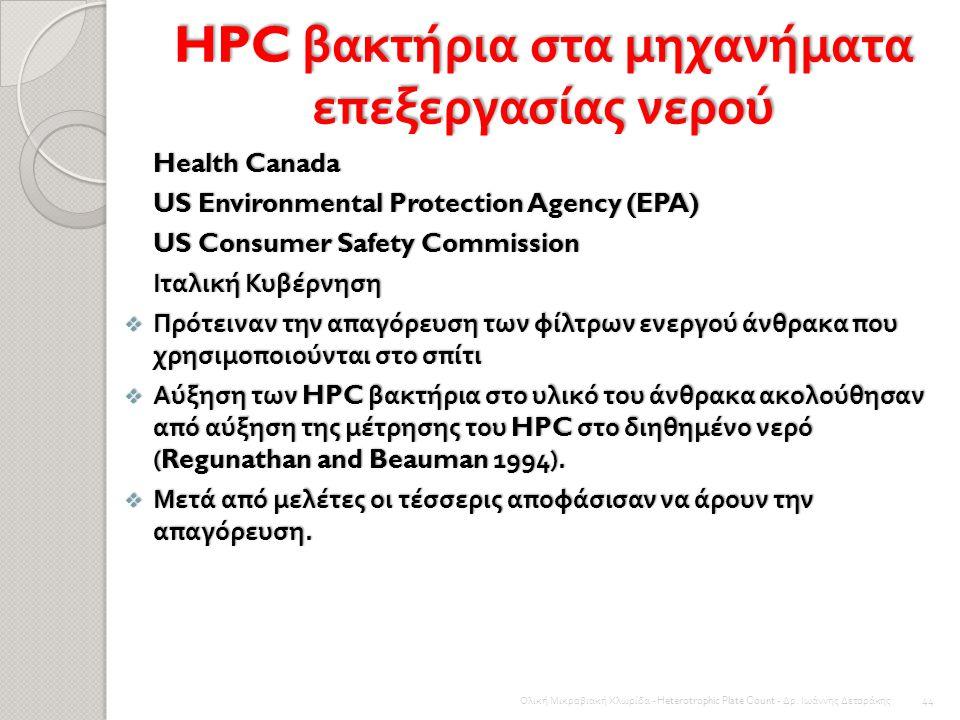 HPC βακτήρια στο Σύστημα Κατανομής του Νερού Υψηλές συγκεντρώσεις Βιοδιασπώμενης Οργανικής Ύλης μπορεί να απαιτήσει υψηλότερη ζήτηση απολυμαντικού που