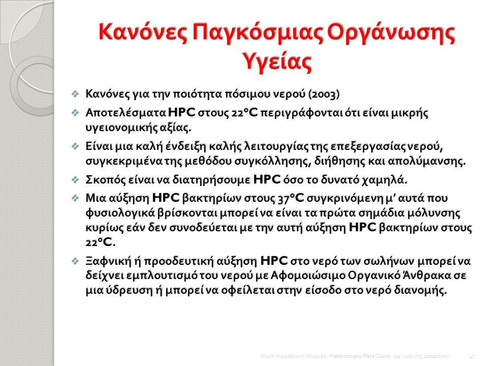 Κανόνες και οδηγίες Οι πρόσφατοι κανόνες ή οδηγίες για τα HPC βακτήρια στο νερό της βρύσης διαφέρει ελάχιστα μεταξύ διαφορετικών κρατών. Γενικά, ο δεί