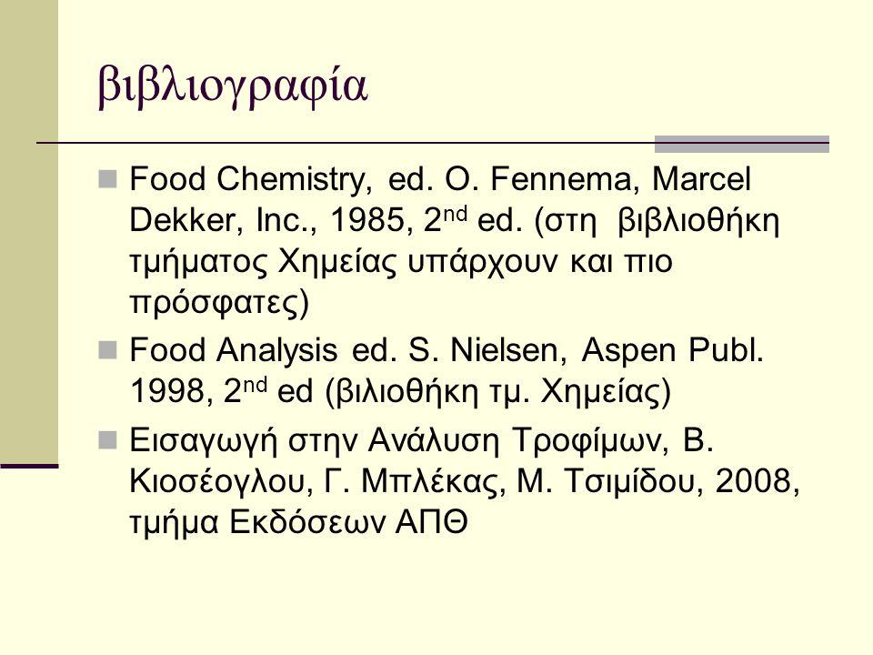 βιβλιογραφία  Food Chemistry, ed. O. Fennema, Marcel Dekker, Inc., 1985, 2 nd ed. (στη βιβλιοθήκη τμήματος Χημείας υπάρχουν και πιο πρόσφατες)  Food