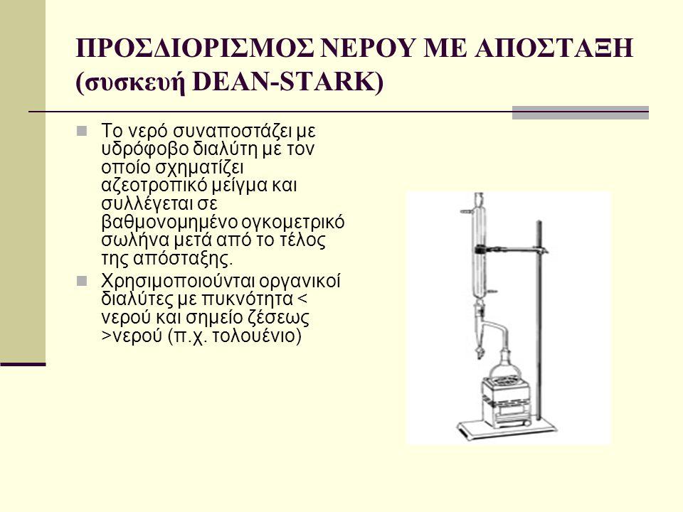 ΠΡΟΣΔΙΟΡΙΣΜΟΣ ΝΕΡΟΥ ΜΕ ΑΠΟΣΤΑΞΗ (συσκευή DEAN-STARK)  Το νερό συναποστάζει με υδρόφοβο διαλύτη με τον οποίο σχηματίζει αζεοτροπικό μείγμα και συλλέγε