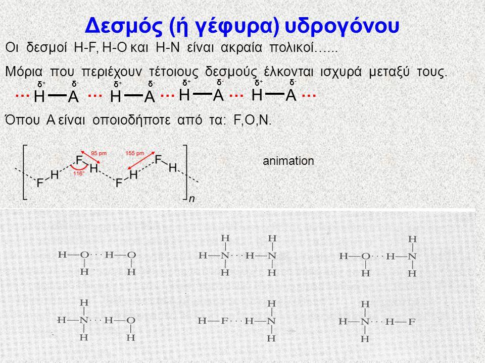 Δεσμός (ή γέφυρα) υδρογόνου Οι δεσμοί H-F, H-O και H-N είναι ακραία πολικοί…...