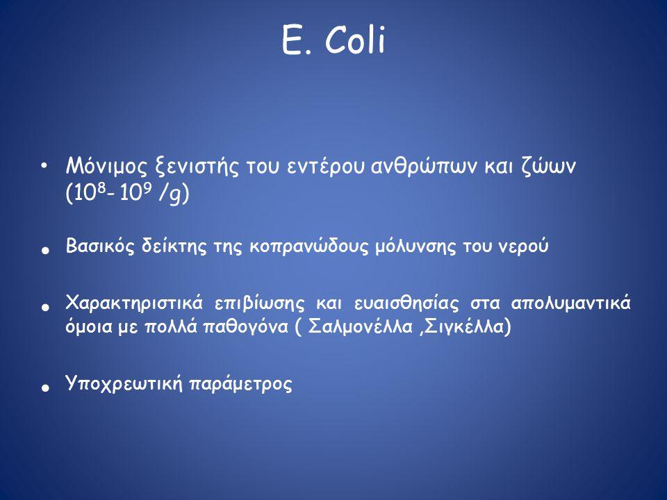E. Coli • Mόνιμος ξενιστής του εντέρου ανθρώπων και ζώων (10 8 - 10 9 /g) • Βασικός δείκτης της κοπρανώδους μόλυνσης του νερού • Χαρακτηριστικά επιβίω