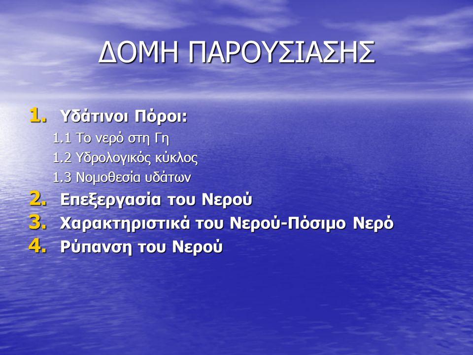 ΔΟΜΗ ΠΑΡΟΥΣΙΑΣΗΣ 1. Υδάτινοι Πόροι: 1.1 Το νερό στη Γη 1.2 Υδρολογικός κύκλος 1.3 Νομοθεσία υδάτων 2. Επεξεργασία του Νερού 3. Χαρακτηριστικά του Νερο