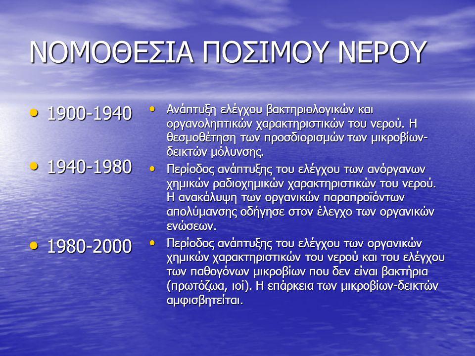 ΝΟΜΟΘΕΣΙΑ ΠΟΣΙΜΟΥ ΝΕΡΟΥ • 1900-1940 • 1940-1980 • 1980-2000 • Ανάπτυξη ελέγχου βακτηριολογικών και οργανοληπτικών χαρακτηριστικών του νερού. Η θεσμοθέ