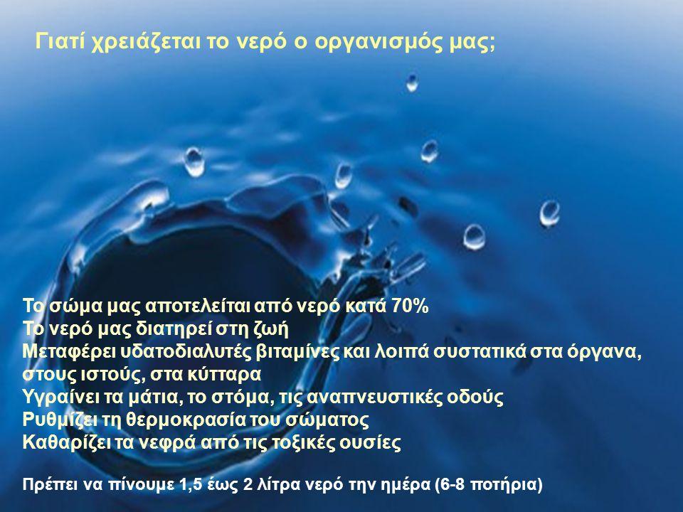 Τι είναι το νερό και από τι εξαρτάται η ποιότητα του; Το νερό, είναι η γνωστή μας χημική ένωση Η2Ο Η ποιότητα του εξαρτάται από τις πρόσθετες ουσίες που περιέχει σε διάλυση ή αιώρηση Το νερό της πηγής και της βρύσης βρίσκεται στη φυσική του κατάσταση, περιέχει διαλυμένο οξυγόνο και έτσι δεν προσβάλλεται από τοξικούς μικροοργανισμούς Όμως όταν το νερό μείνει σε ένα μπουκάλι για αρκετό διάστημα, τότε χάνει το οξυγόνο του, παλιώνει και μπορεί να προσβληθεί από επικίνδυνα μικρόβια, ειδικά όταν βρεθεί σε υψηλές θερμοκρασίες
