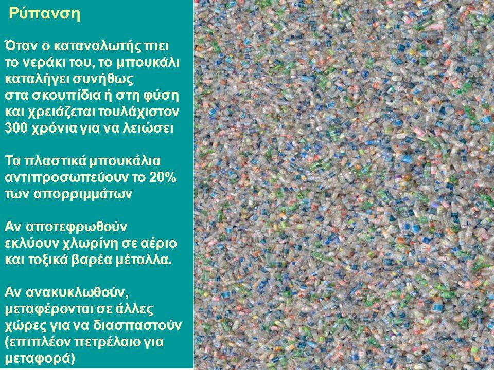 Ρύπανση Όταν ο καταναλωτής πιει το νεράκι του, το μπουκάλι καταλήγει συνήθως στα σκουπίδια ή στη φύση και χρειάζεται τουλάχιστον 300 χρόνια για να λειώσει Τα πλαστικά μπουκάλια αντιπροσωπεύουν το 20% των απορριμμάτων Αν αποτεφρωθούν εκλύουν χλωρίνη σε αέριο και τοξικά βαρέα μέταλλα.