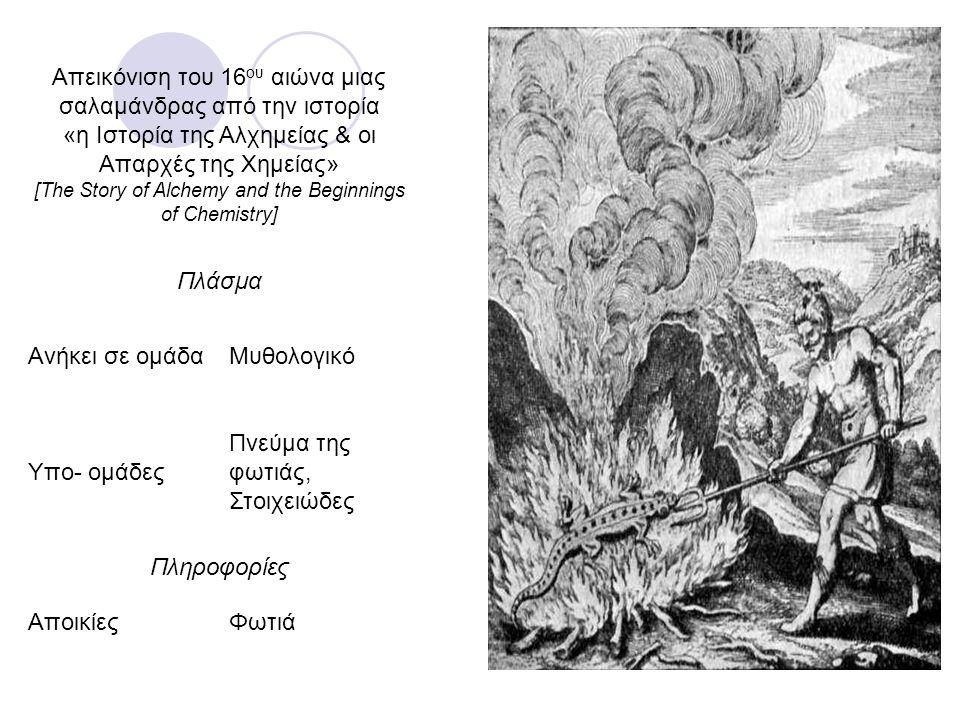 Απεικόνιση του 16 ου αιώνα μιας σαλαμάνδρας από την ιστορία «η Ιστορία της Αλχημείας & οι Απαρχές της Χημείας» [The Story of Alchemy and the Beginning