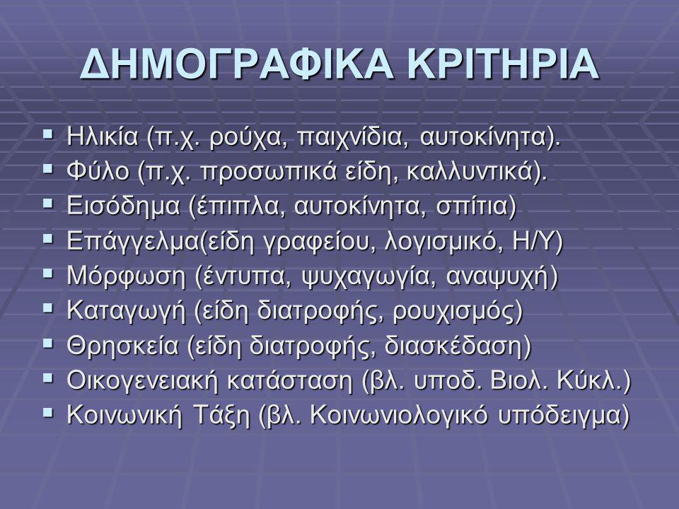 ΔΗΜΟΓΡΑΦΙΚΑ ΚΡΙΤΗΡΙΑ  Ηλικία (π.χ. ρούχα, παιχνίδια, αυτοκίνητα).  Φύλο (π.χ. προσωπικά είδη, καλλυντικά).  Εισόδημα (έπιπλα, αυτοκίνητα, σπίτια) 
