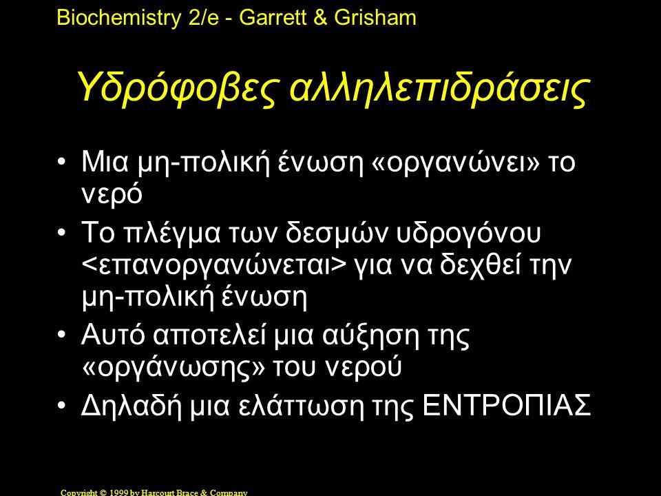 Biochemistry 2/e - Garrett & Grisham Copyright © 1999 by Harcourt Brace & Company Υδρόφοβες αλληλεπιδράσεις •Μια μη-πολική ένωση «οργανώνει» το νερό •Το πλέγμα των δεσμών υδρογόνου για να δεχθεί την μη-πολική ένωση •Αυτό αποτελεί μια αύξηση της «οργάνωσης» του νερού •Δηλαδή μια ελάττωση της ΕΝΤΡΟΠΙΑΣ