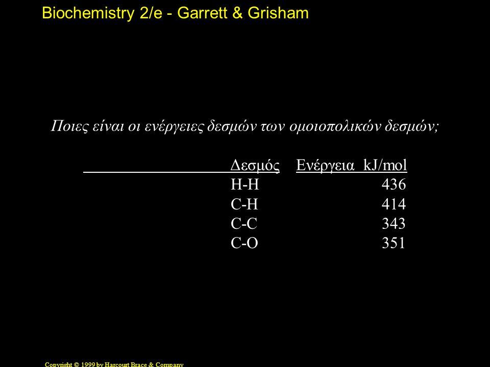 Biochemistry 2/e - Garrett & Grisham Copyright © 1999 by Harcourt Brace & Company Ποιες είναι οι ενέργειες δεσμών των ομοιοπολικών δεσμών; Δεσμός Ενέργεια kJ/mol H-H 436 C-H 414 C-C 343 C-O 351