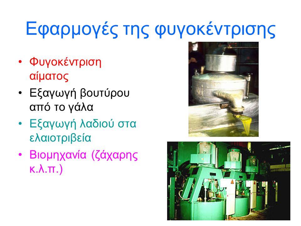 Εφαρμογές της φυγοκέντρισης •Φυγοκέντριση αίματος •Εξαγωγή βουτύρου από το γάλα •Εξαγωγή λαδιού στα ελαιοτριβεία •Βιομηχανία (ζάχαρης κ.λ.π.)