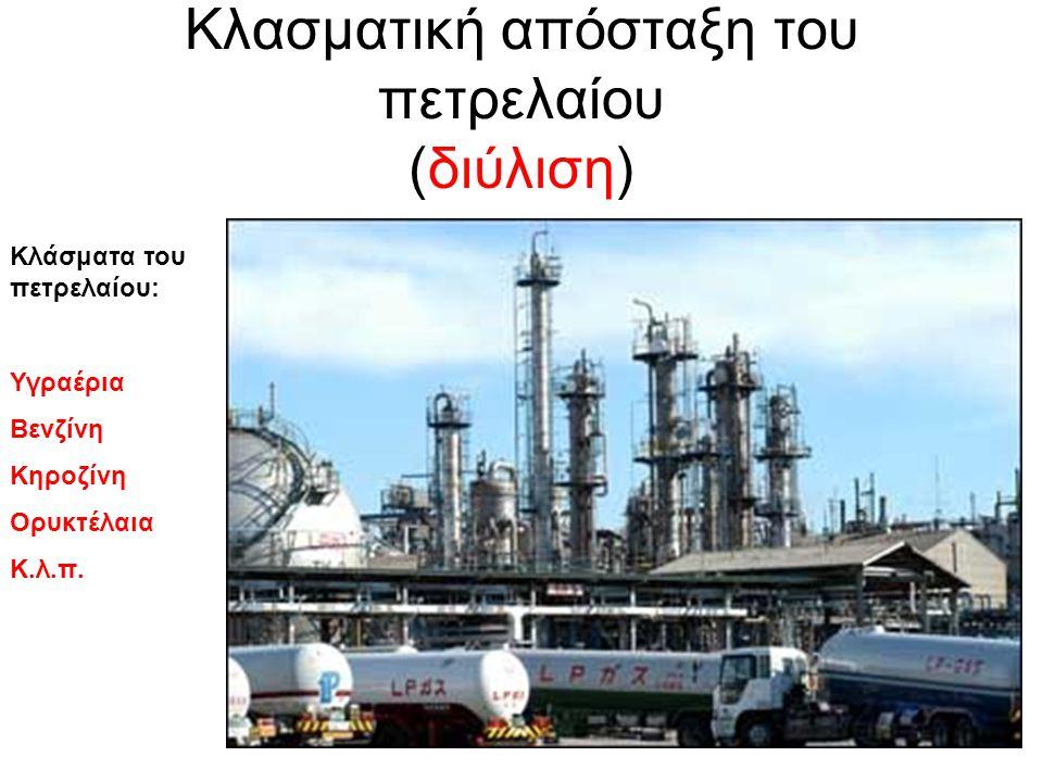 Κλασματική απόσταξη του πετρελαίου (διύλιση) Κλάσματα του πετρελαίου: Υγραέρια Βενζίνη Κηροζίνη Ορυκτέλαια Κ.λ.π.