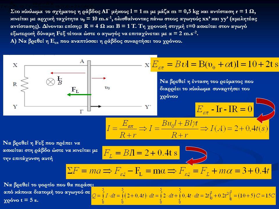 Στο κύκλωμα το σχήματος η ράβδος ΑΓ μήκους l = 1 m με μάζα m = 0,5 kg και αντίσταση r = 1 Ω, κινείται με αρχική ταχύτητα υ 0 = 10 m.s -1, ολισθαίνοντας πάνω στους αγωγούς xx' και yy' (αμελητέας αντίστασης).