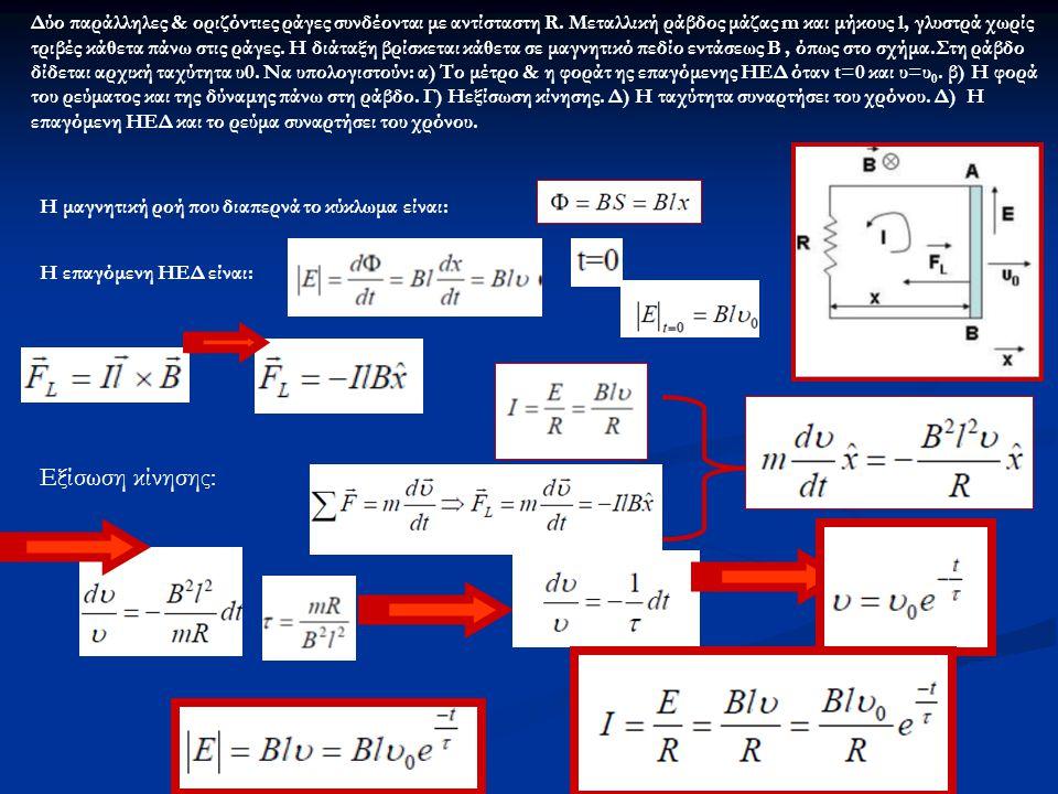 Η μαγνητική ροή που διαπερνά το κύκλωμα είναι: Η επαγόμενη ΗΕΔ είναι: Εξίσωση κίνησης: Δύο παράλληλες & οριζόντιες ράγες συνδέονται με αντίσταστη R.