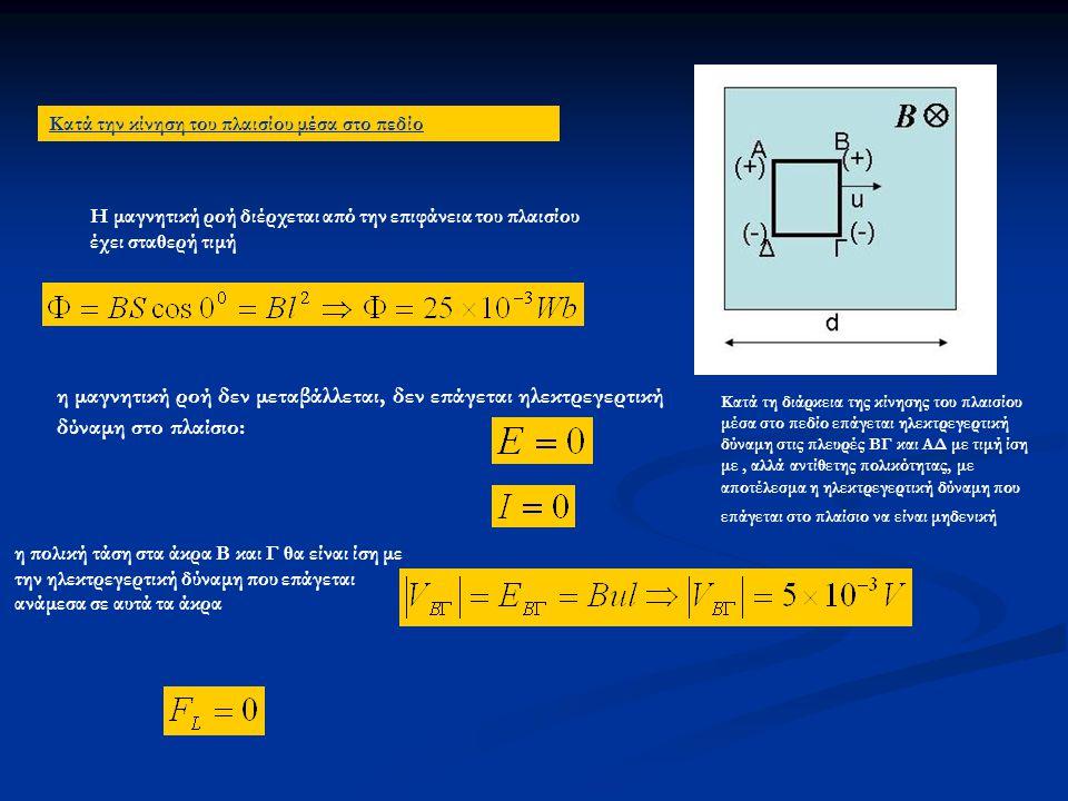 Κατά την κίνηση του πλαισίου μέσα στο πεδίο Η μαγνητική ροή διέρχεται από την επιφάνεια του πλαισίου έχει σταθερή τιμή η μαγνητική ροή δεν μεταβάλλεται, δεν επάγεται ηλεκτρεγερτική δύναμη στο πλαίσιο: Κατά τη διάρκεια της κίνησης του πλαισίου μέσα στο πεδίο επάγεται ηλεκτρεγερτική δύναμη στις πλευρές ΒΓ και ΑΔ με τιμή ίση με, αλλά αντίθετης πολικότητας, με αποτέλεσμα η ηλεκτρεγερτική δύναμη που επάγεται στο πλαίσιο να είναι μηδενική η πολική τάση στα άκρα Β και Γ θα είναι ίση με την ηλεκτρεγερτική δύναμη που επάγεται ανάμεσα σε αυτά τα άκρα