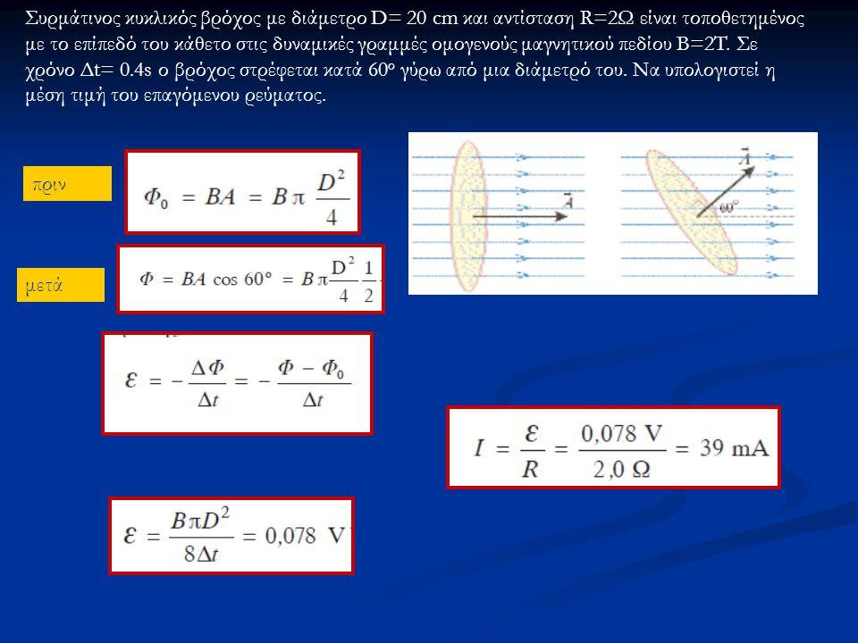 πριν μετά Συρμάτινος κυκλικός βρόχος με διάμετρο D= 20 cm και αντίσταση R=2Ω είναι τοποθετημένος με το επίπεδό του κάθετο στις δυναμικές γραμμές ομογενούς μαγνητικού πεδίου B=2T.