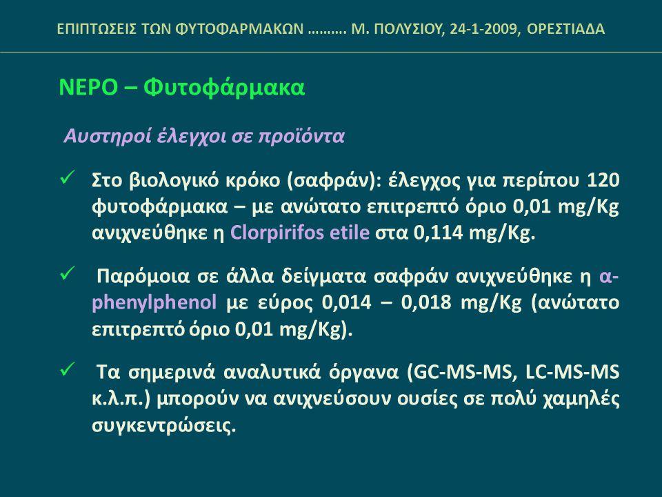 ΝΕΡΟ – Φυτοφάρμακα Αυστηροί έλεγχοι σε προϊόντα  Στο βιολογικό κρόκο (σαφράν): έλεγχος για περίπου 120 φυτοφάρμακα – με ανώτατο επιτρεπτό όριο 0,01 mg/Kg ανιχνεύθηκε η Clorpirifos etile στα 0,114 mg/Kg.