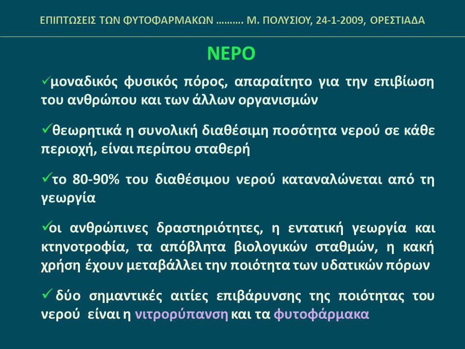 ΝΕΡΟ- Νιτρορύπανση Ορισμός: άμεση ή έμμεση απόρριψη στο υδάτινο περιβάλλον αζωτούχων ενώσεων γεωργικής προέλευσης Αιτία:  η εκτεταμένη και ανεξέλεγκτη χρήση των αζωτούχων λιπασμάτων στη γεωργία (στην Ελλάδα εκτιμάται ότι 300.000 τόνοι λιπασµάτων καταλήγουν κάθε χρόνο στα ποτάµια και τη θάλασσα)  τα στερεά απόβλητα (ζώων και λάσπης βιολογικών σταθμών)  η ζωική κοπριά ΕΠΙΠΤΩΣΕΙΣ ΤΩΝ ΦΥΤΟΦΑΡΜΑΚΩΝ ……….