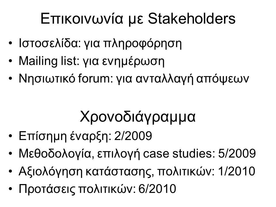 Επικοινωνία με Stakeholders •Ιστοσελίδα: για πληροφόρηση •Mailing list: για ενημέρωση •Νησιωτικό forum: για ανταλλαγή απόψεων Χρονοδιάγραμμα •Επίσημη