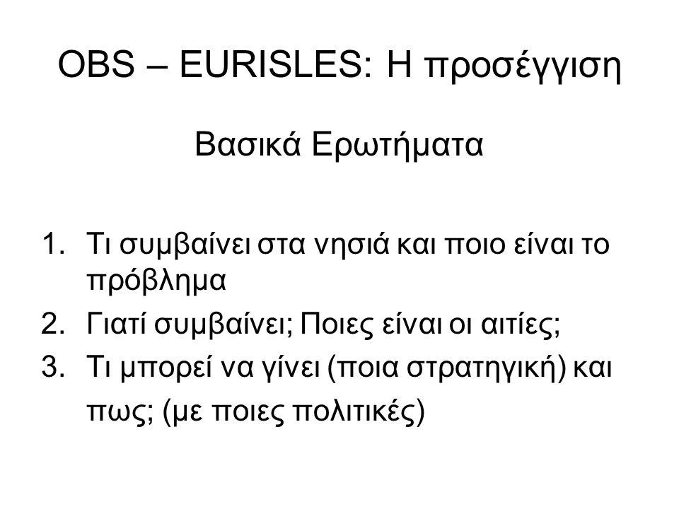 OBS – EURISLES: Η προσέγγιση Βασικά Ερωτήματα 1.Τι συμβαίνει στα νησιά και ποιο είναι το πρόβλημα 2.Γιατί συμβαίνει; Ποιες είναι οι αιτίες; 3.Τι μπορε