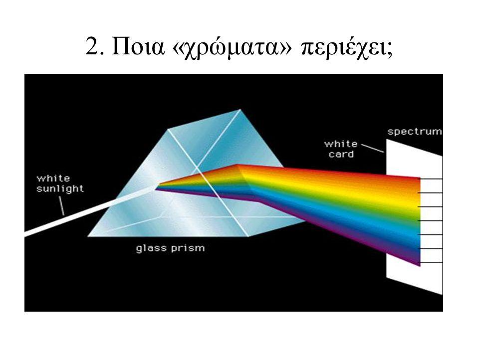 •Το λευκό φως συγκροτείται από ακτινοβολίες και κατά την ανάλυσή του προκύπτει μια συγκεκριμένη ακολουθία από τις ακτινοβολίες αυτές.Η νέα ακολουθία στην οποία το λευκό και το μαύρο δεν έχουν πλέον θέση, θα είναι και η μοναδική.