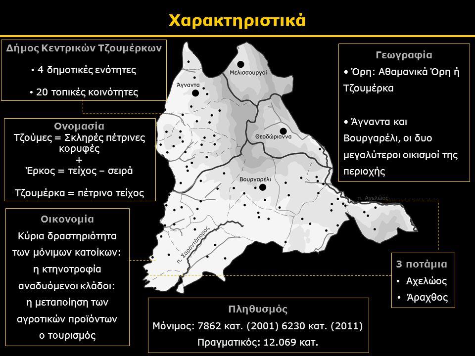 Χαρακτηριστικά Δήμος Κεντρικών Τζουμέρκων • 4 δημοτικές ενότητες • 20 τοπικές κοινότητες Δήμος Κεντρικών Τζουμέρκων • 4 δημοτικές ενότητες • 20 τοπικές κοινότητες 3 ποτάμια • Αχελώος • Άραχθος Γεωγραφία • Όρη: Αθαμανικά Όρη ή Τζουμέρκα • Άγναντα και Βουργαρέλι, οι δυο μεγαλύτεροι οικισμοί της περιοχής Οικονομία Κύρια δραστηριότητα των μόνιμων κατοίκων: η κτηνοτροφία αναδυόμενοι κλάδοι: η μεταποίηση των αγροτικών προϊόντων ο τουρισμός Ονομασία Τζούμες = Σκληρές πέτρινες κορυφές + Έρκος = τείχος – σειρά Τζουμέρκα = πέτρινο τείχος Ονομασία Τζούμες = Σκληρές πέτρινες κορυφές + Έρκος = τείχος – σειρά Τζουμέρκα = πέτρινο τείχος Πληθυσμός Μόνιμος: 7862 κατ.