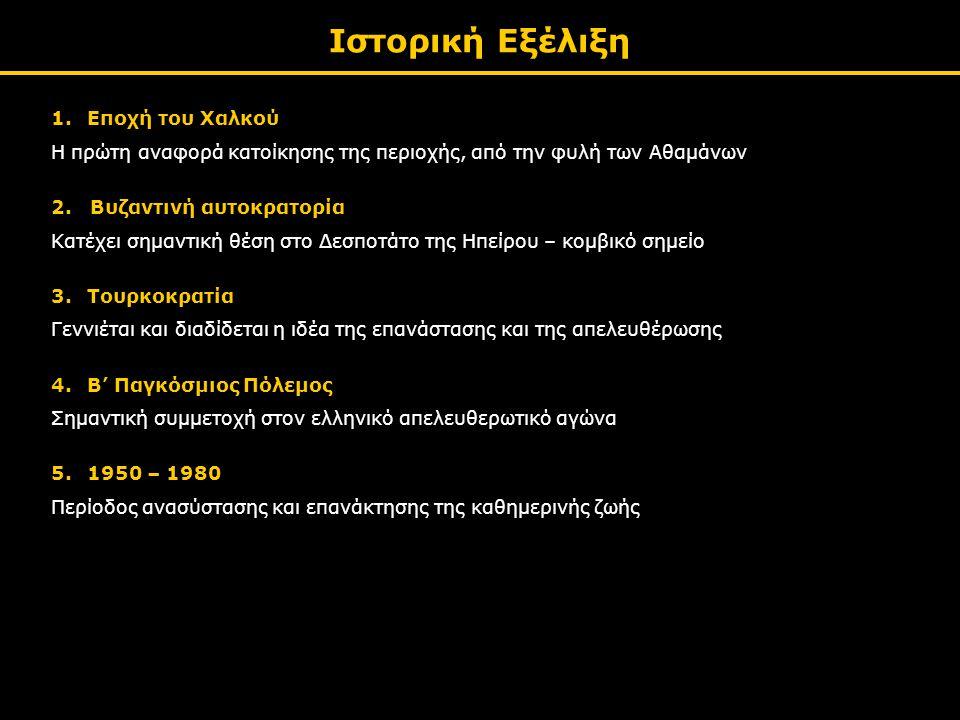Ιστορική Εξέλιξη 1.Εποχή του Χαλκού Η πρώτη αναφορά κατοίκησης της περιοχής, από την φυλή των Αθαμάνων 2.