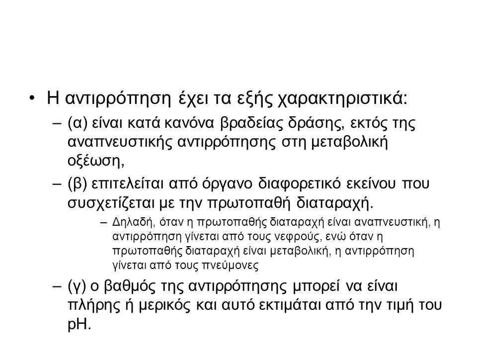 •Η αντιρρόπηση έχει τα εξής χαρακτηριστικά: –(α) είναι κατά κανόνα βραδείας δράσης, εκτός της αναπνευστικής αντιρρόπησης στη μεταβολική οξέωση, –(β) ε