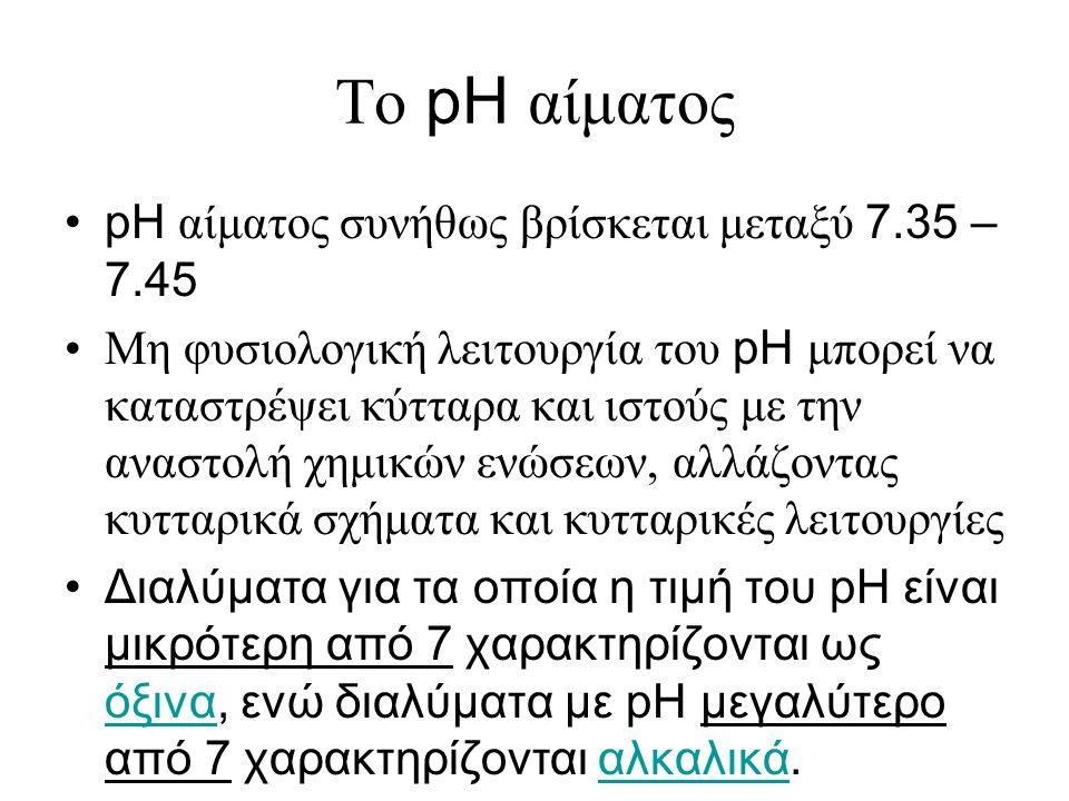 Το pH αίματος •pH αίματος συνήθως βρίσκεται μεταξύ 7.35 – 7.45 •Μη φυσιολογική λειτουργία του pH μπορεί να καταστρέψει κύτταρα και ιστούς με την αναστ