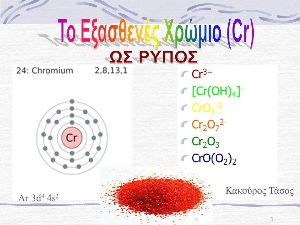1 Cr 3+ [Cr(OH) 4 ] - CrO 4 -2 Cr 2 O 7 2- Cr 2 O 3 CrO(O 2 ) 2 Κακούρος Τάσος Ar 3d 4 4s 2