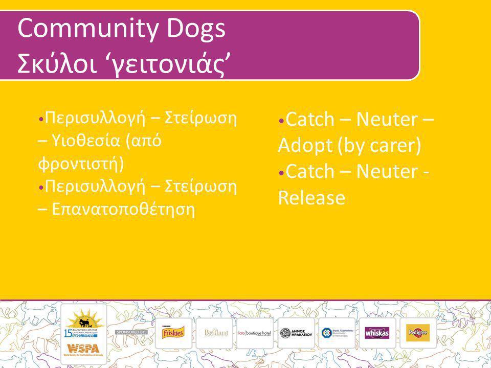 Community Dogs Σκύλοι 'γειτονιάς' • Περισυλλογή – Στείρωση – Υιοθεσία (από φροντιστή) • Περισυλλογή – Στείρωση – Επανατοποθέτηση • Catch – Neuter – Adopt (by carer) • Catch – Neuter - Release