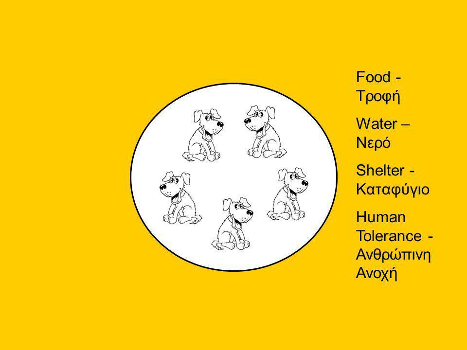 Food - Τροφή Water – Νερό Shelter - Καταφύγιο Human Tolerance - Ανθρώπινη Ανοχή