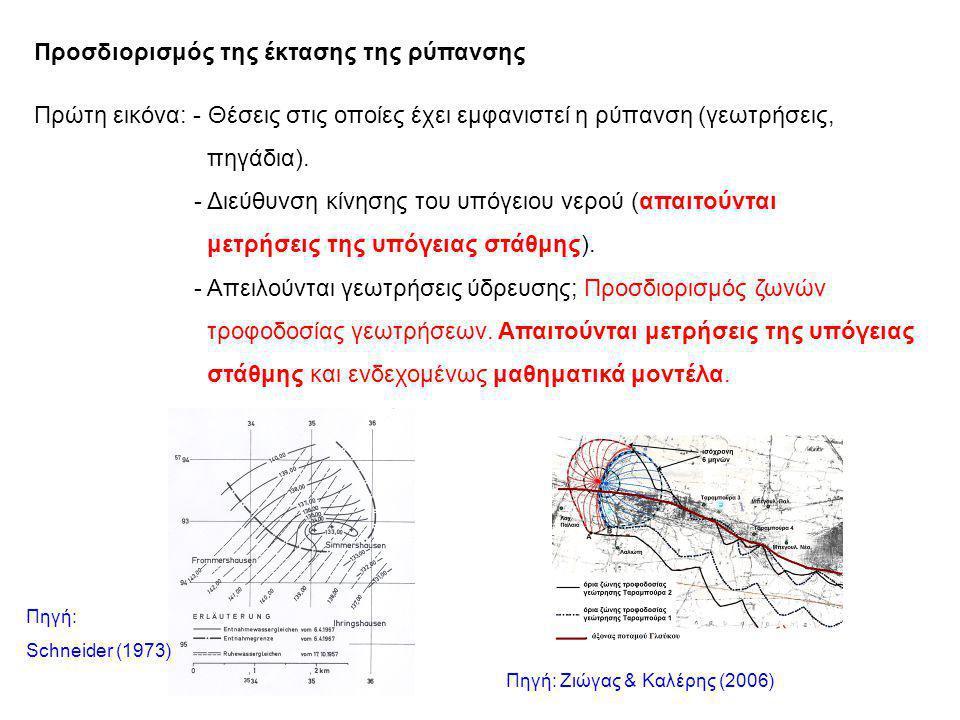 Προσδιορισμός της έκτασης της ρύπανσης Πρώτη εικόνα: - Θέσεις στις οποίες έχει εμφανιστεί η ρύπανση (γεωτρήσεις, πηγάδια).