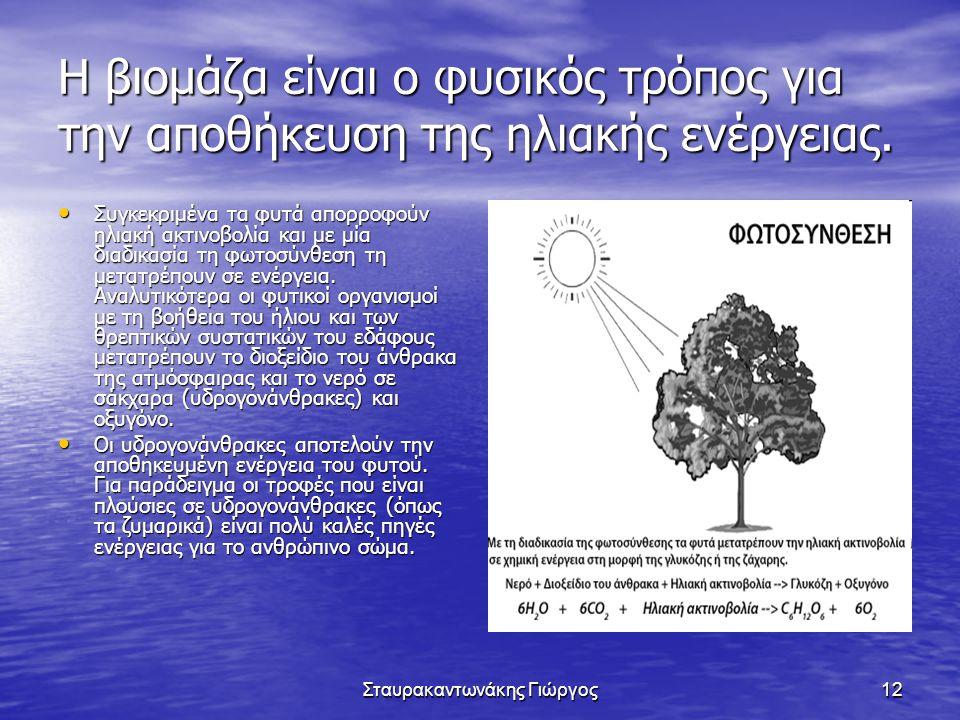 Σταυρακαντωνάκης Γιώργος12 Η βιομάζα είναι ο φυσικός τρόπος για την αποθήκευση της ηλιακής ενέργειας. • Συγκεκριμένα τα φυτά απορροφούν ηλιακή ακτινοβ