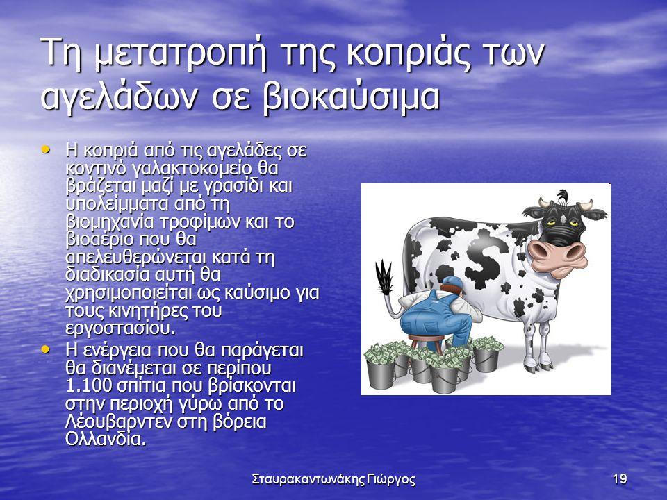 Σταυρακαντωνάκης Γιώργος19 Τη μετατροπή της κοπριάς των αγελάδων σε βιοκαύσιμα • Η κοπριά από τις αγελάδες σε κοντινό γαλακτοκομείο θα βράζεται μαζί μ
