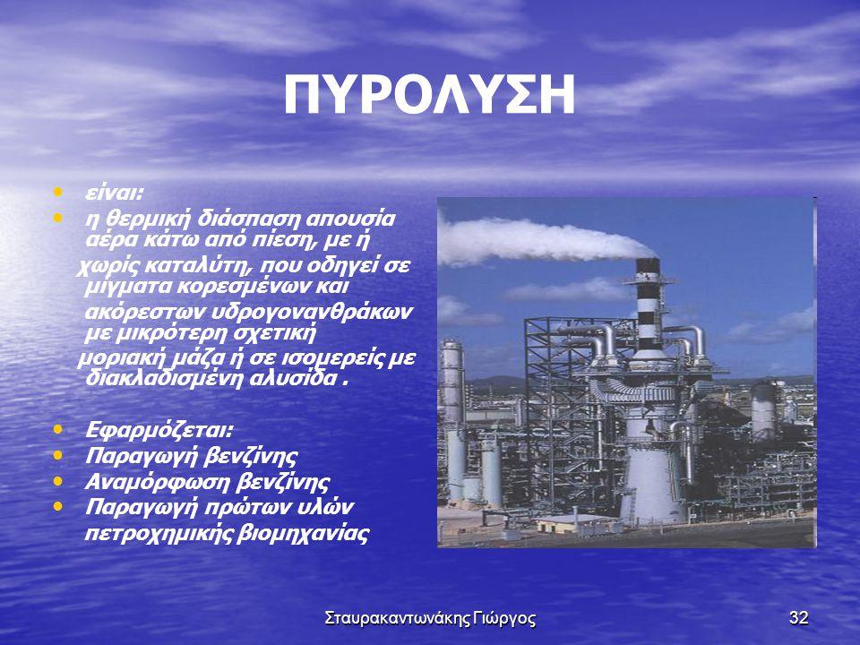 Σταυρακαντωνάκης Γιώργος32 ΠΥΡΟΛΥΣΗ • • είναι: • • η θερμική διάσπαση απουσία αέρα κάτω από πίεση, με ή χωρίς καταλύτη, που οδηγεί σε μίγματα κορεσμέν