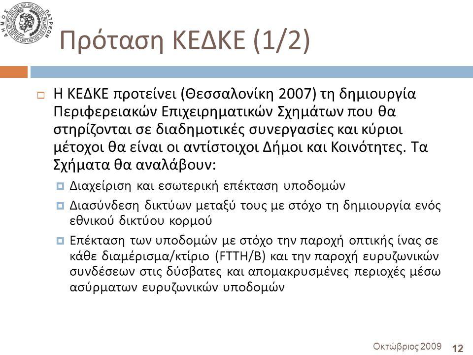 12 Οκτώβριος 2009 Πρόταση ΚΕΔΚΕ (1/2)  Η ΚΕΔΚΕ προτείνει ( Θεσσαλονίκη 2007) τη δημιουργία Περιφερειακών Επιχειρηματικών Σχημάτων που θα στηρίζονται