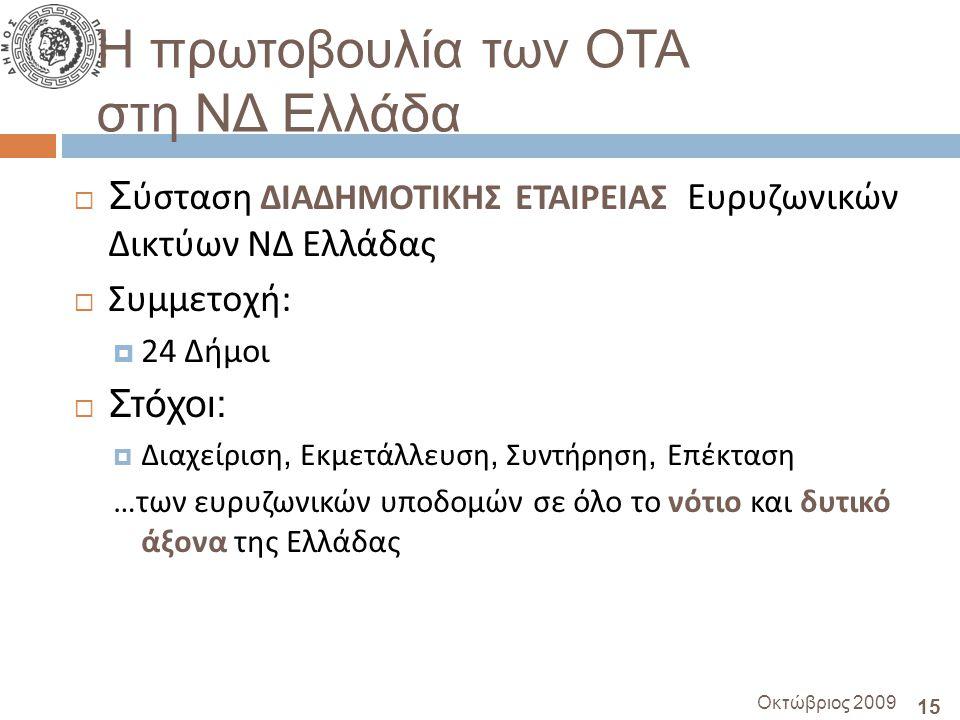 15 Οκτώβριος 2009 Η πρωτοβουλία των ΟΤΑ στη ΝΔ Ελλάδα  Σ ύσταση ΔΙΑΔΗΜΟΤΙΚΗΣ ΕΤΑΙΡΕΙΑΣ Ευρυζωνικών Δικτύων ΝΔ Ελλάδας  Συμμετοχή :  24 Δήμοι  Στόχοι:  Διαχείριση, Εκμετάλλευση, Συντήρηση, Επέκταση … των ευρυζωνικών υποδομών σε όλο το νότιο και δυτικό άξονα της Ελλάδας