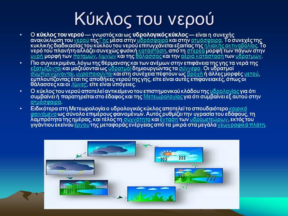 Κύκλος του νερού •O κύκλος του νερού — γνωστός και ως υδρολογικός κύκλος — είναι η συνεχής ανακύκλωση του νερού της Γης μέσα στην υδρόσφαιρα και στην ατμόσφαιρα.