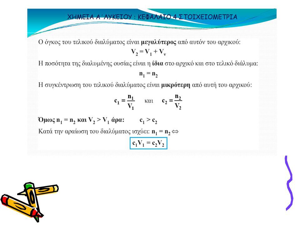 ΑΡΑΙΩΣΗ Η ποσότητα της διαλυμένης ουσίας στο αρχικό και στο τελικό διάλυμα είναι η ίδια γιατί προσθέσαμε μόνο διαλύτη n αρχικό =n τελικό Ο όγκος του διαλύματος αυξάνεται V τελικό =V αρχικό + Vδιαλύτη(H 2 O) n αρχικό =C αρχικό •V αρχικό και n τελικό =C τελικό •V τελικό Κατά τη αραίωση ισχύει C αρχικό •V αρχικό =C τελικό •V τελικό