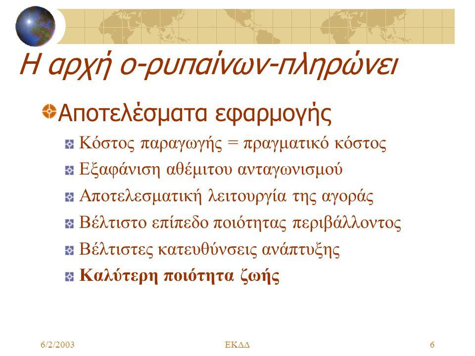 6/2/2003ΕΚΔΔ6 Η αρχή ο-ρυπαίνων-πληρώνει Αποτελέσματα εφαρμογής Κόστος παραγωγής = πραγματικό κόστος Εξαφάνιση αθέμιτου ανταγωνισμού Αποτελεσματική λειτουργία της αγοράς Βέλτιστο επίπεδο ποιότητας περιβάλλοντος Βέλτιστες κατευθύνσεις ανάπτυξης Καλύτερη ποιότητα ζωής