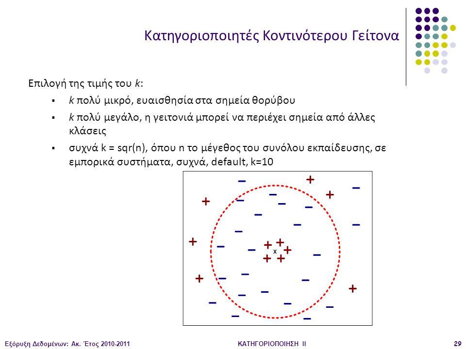Εξόρυξη Δεδομένων: Ακ. Έτος 2010-2011ΚΑΤΗΓΟΡΙΟΠΟΙΗΣΗ II29 Επιλογή της τιμής του k:  k πολύ μικρό, ευαισθησία στα σημεία θορύβου  k πολύ μεγάλο, η γε