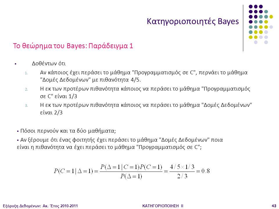 Εξόρυξη Δεδομένων: Ακ. Έτος 2010-2011ΚΑΤΗΓΟΡΙΟΠΟΙΗΣΗ II43 Κατηγοριοποιητές Bayes  Δοθέντων ότι 1. Αν κάποιος έχει περάσει το μάθημα