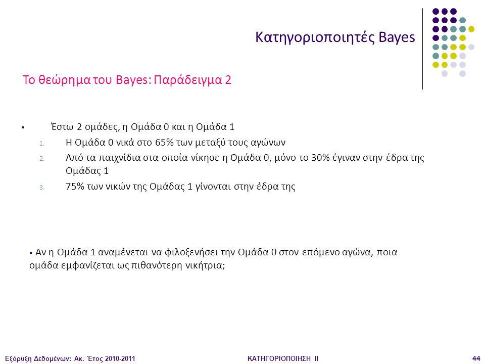 Εξόρυξη Δεδομένων: Ακ. Έτος 2010-2011ΚΑΤΗΓΟΡΙΟΠΟΙΗΣΗ II44 Κατηγοριοποιητές Bayes  Έστω 2 ομάδες, η Ομάδα 0 και η Ομάδα 1 1. Η Ομάδα 0 νικά στο 65% τω
