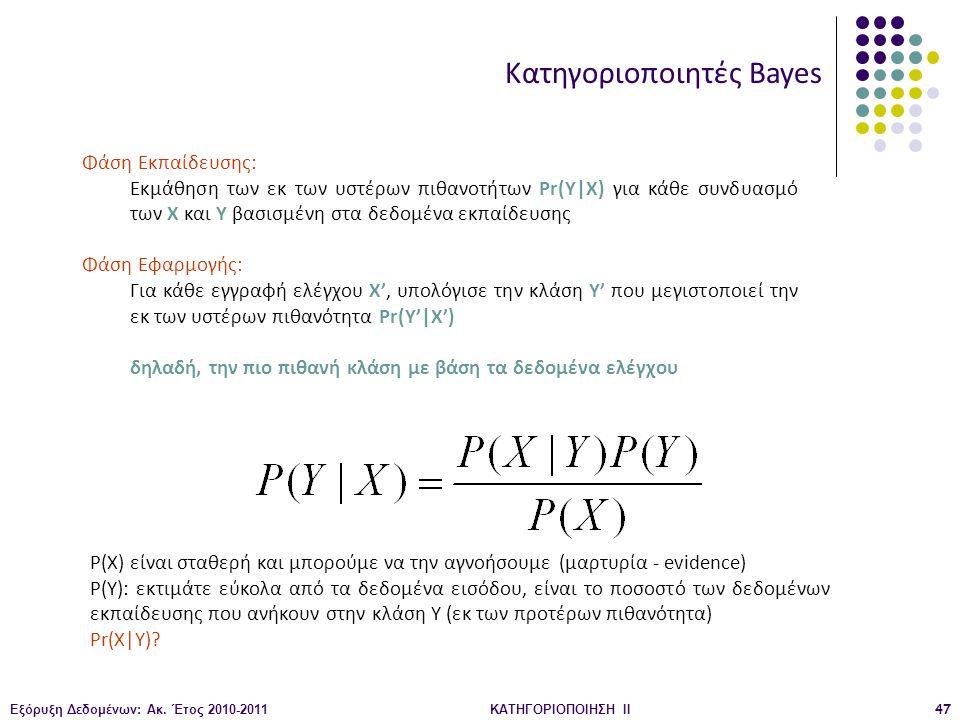 Εξόρυξη Δεδομένων: Ακ. Έτος 2010-2011ΚΑΤΗΓΟΡΙΟΠΟΙΗΣΗ II47 Κατηγοριοποιητές Bayes Φάση Εκπαίδευσης: Εκμάθηση των εκ των υστέρων πιθανοτήτων Pr(Y|X) για